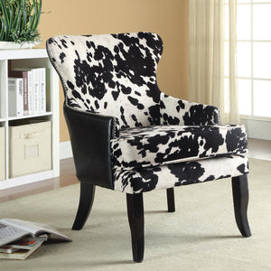 Pleasing Accent Seating Cowhide Print Leatherette Chair With Nailhead Trim Andrewgaddart Wooden Chair Designs For Living Room Andrewgaddartcom