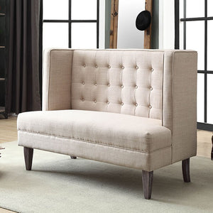 Admirable Beige Wingback Design Button Tufted Love Seat Bench Pabps2019 Chair Design Images Pabps2019Com