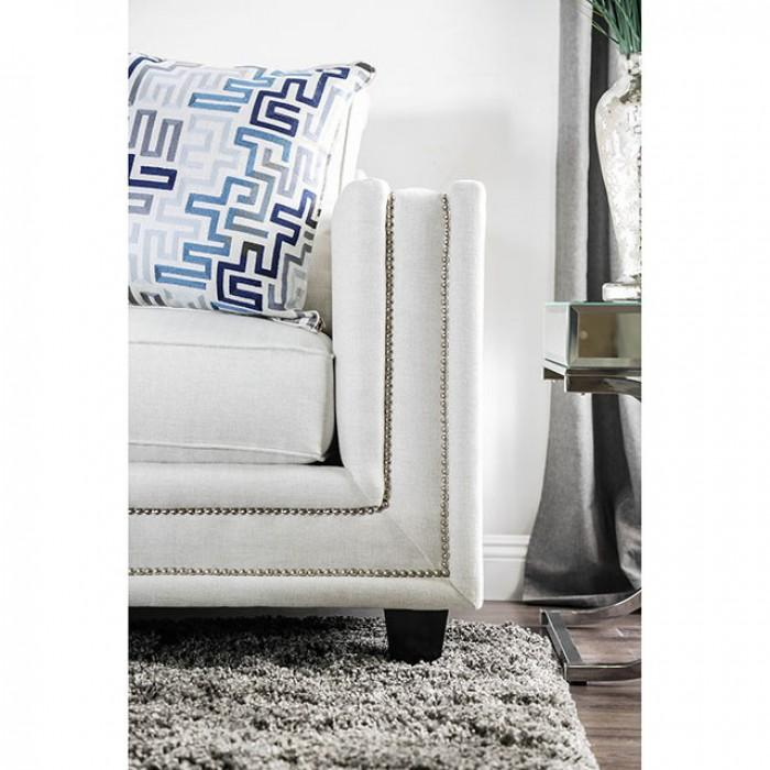 Pleasing Off White Nailhead Trim Sofa With Pattern Pillows Pabps2019 Chair Design Images Pabps2019Com