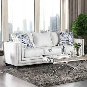 Super Off White Nailhead Trim Sofa With Pattern Pillows Pabps2019 Chair Design Images Pabps2019Com