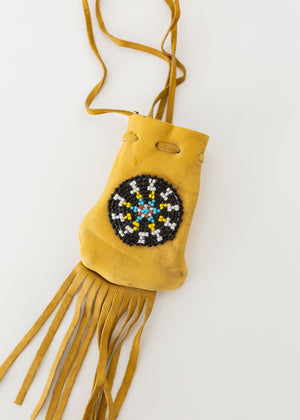 Beaded Leather Medicine/Crystal Bag