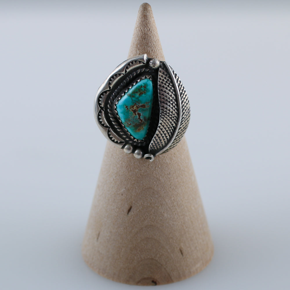 Old Pawn Native American Turquoise Sterling Silver Ring