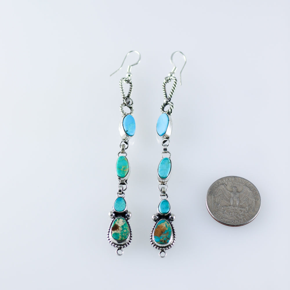 Turquoise Statement Cluster Earrings