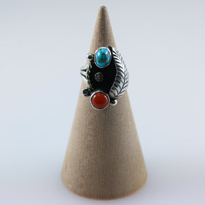 Vintage Coral Turquoise Ring