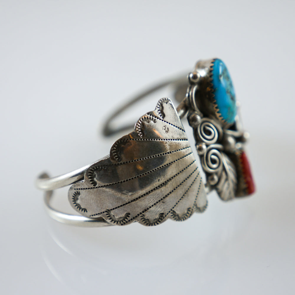 Traditional Navajo Turquoise & Coral Cuff Bracelet