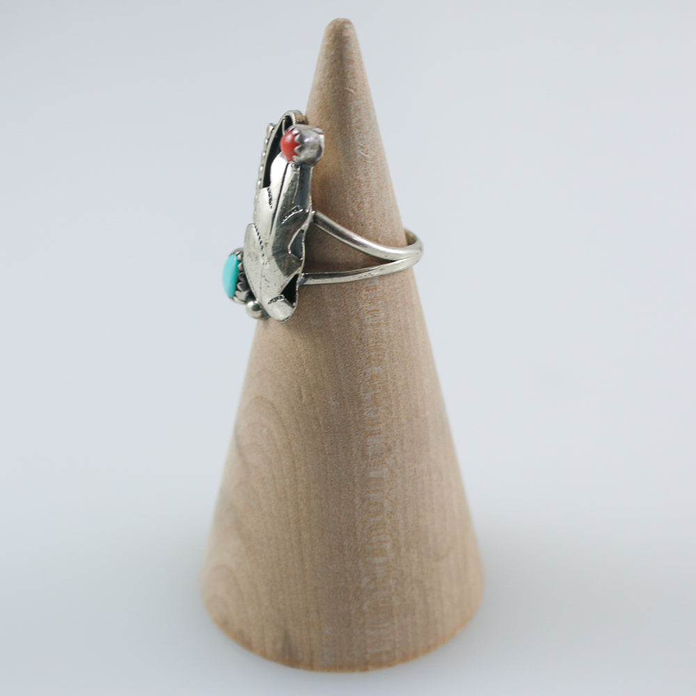 Old Pawn Turquoise & Coral Ring
