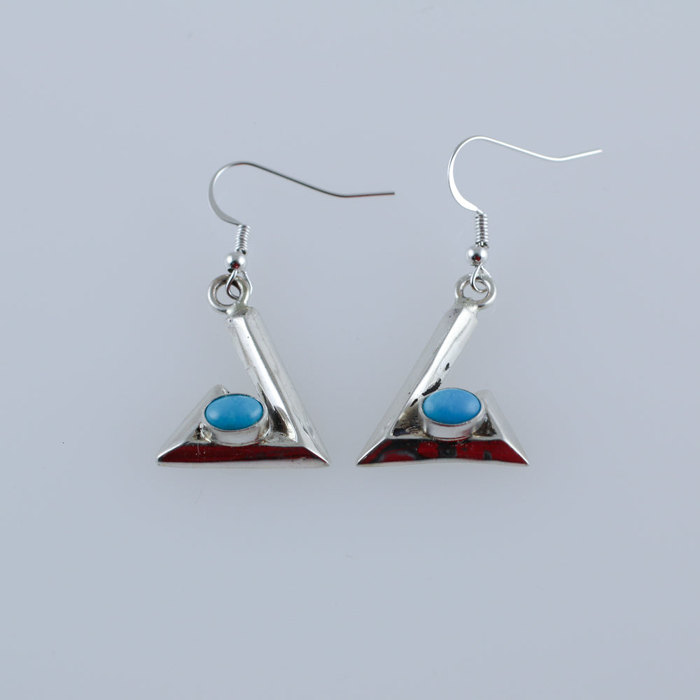 Modern Sand Cast Sterling Silver Turquoise Native Earrings