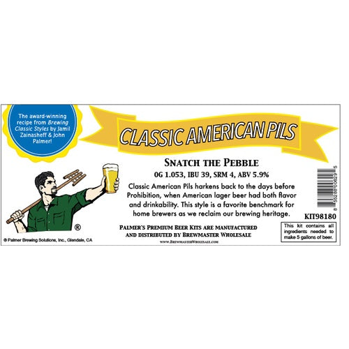 Palmer Premium Beer Kits - Snatch the Pebble - Classic American Pilsner