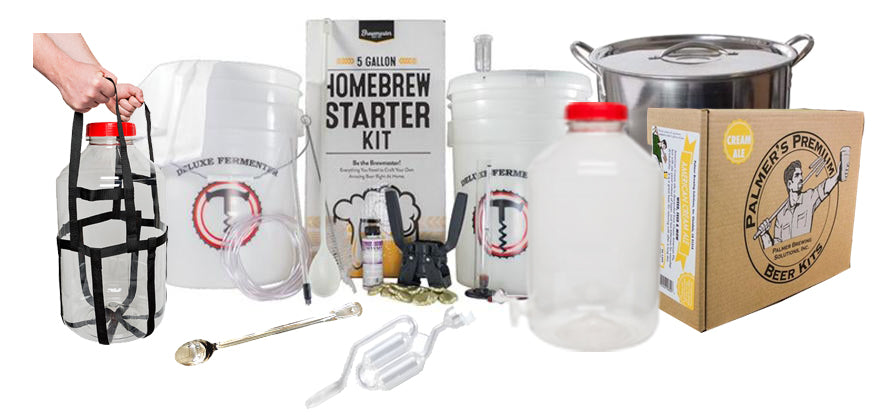 DELUXE 5 Gallon Beer Brewing Starter Kit With Premium Beer Ingredient Kit