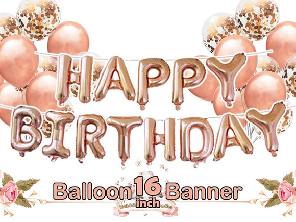 Rose Gold Happy Birthday Balloon Banner Set