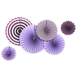 Purple Rosette Party Fans Set - 6ct.