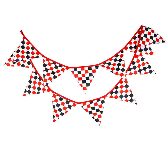 RACE CAR Bunting Banner Boy's Nursery Red Black Checker Flags Bunting, Photography Prop Cotton Fabric Banners  Boys Baby Shower Garland