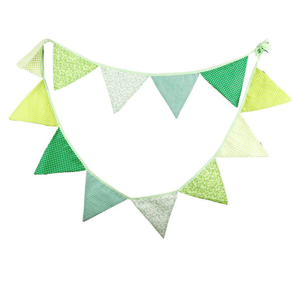 Fabric Bunting Banner Boys Nursery Green Themed Flags Bunting, Photography Prop Cotton Fabric Banners Boys Baby Shower Garland