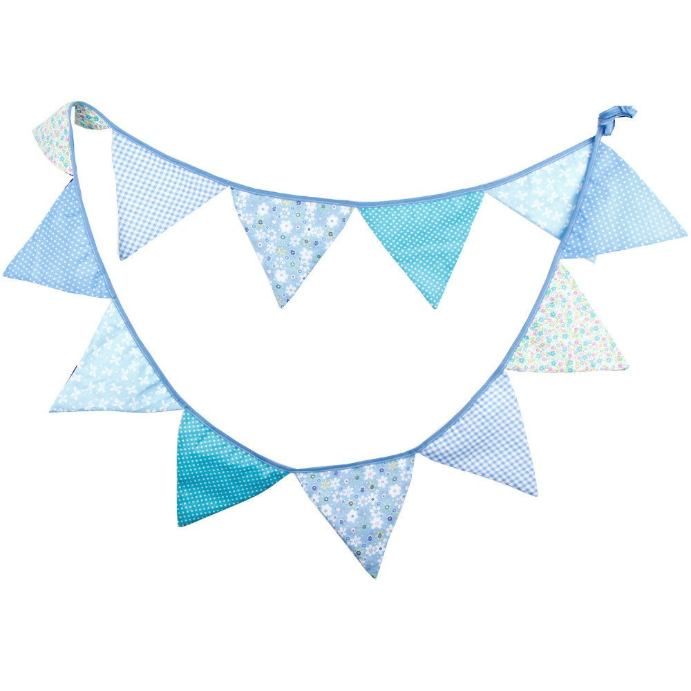 Fabric Bunting Banner Boys Nursery Blue Flags Bunting Photography Pro Happy Party Supply