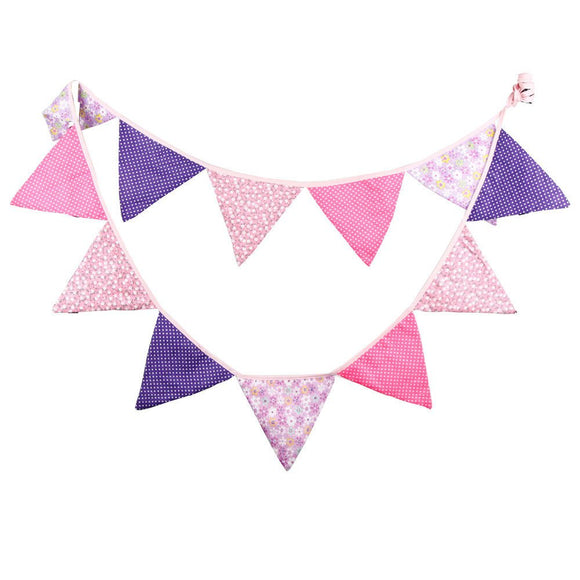 Fabric Bunting Banner Girls Nursery Pink Purple Flags Bunting, Photography Prop Cotton Fabric Banners Girls Baby Shower Garland