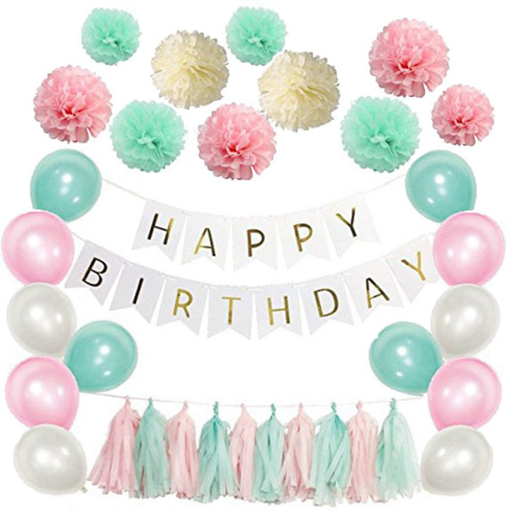 Pink and Mint Happy Birthday Theme Decoration Set-DIY Kids Party Set, Tissue Ball, Pink Flags, & Happy Birhday Banner Set