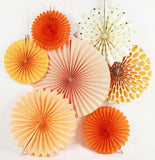 Orange Rosette Party Fans - 7ct.