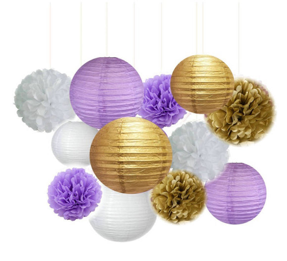 Purple White and Gold Party Tissue Poms  & Lanterm Set-DIY Kids Party Set, Paper Lantern| Baby Shower |Birthday | Hanging Decoration