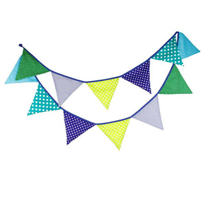 Fabric Bunting Banner Girls Nursery Blue Green Flags Bunting, Photography Prop Cotton Fabric Banners Boys Baby Shower Garland