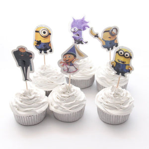 Minion Cupcake Topper Picks | Boys Party Decorations | Minion Party Favors | Minion Party Supplies