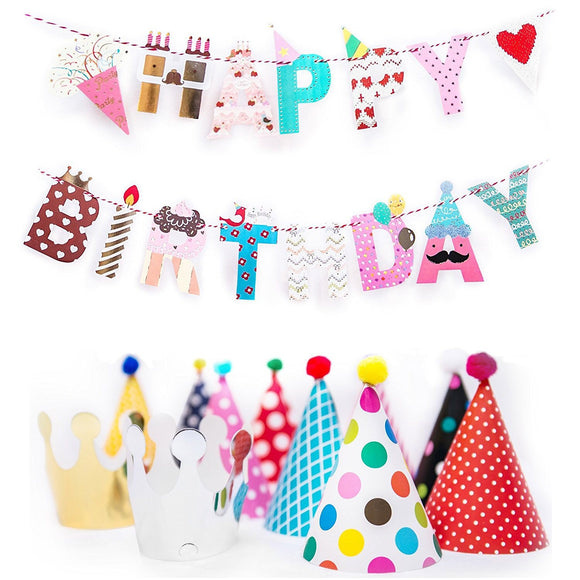 Happy Birthday Banner and Party Hats Set