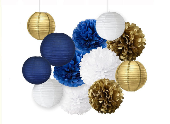 Navy Blue, Gold, White Party Pom Poms Set-Boy Birthday Party Set, Paper Lantern| Boy Baby Shower |Father Birhtday|Nautical Party