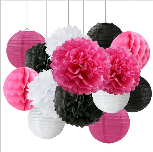14-Piece Hot Pink, Black White Party Pom Poms Set-Sassy Girls Party Set, Paper Lantern| Teens Birthday |Birthday Girl |Hanging Decoration