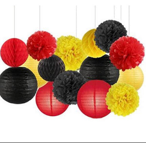 DISNEY PARTY-Mickey Party, Minnie Birthday Party Decoration- Red, Yellow, Black Poms Lantern Party-Disney Theme Girls Party Decor Set