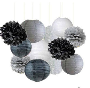 Black, Silver, White Party Poms & Lantern Set-DIY Boys Party Set, Paper Lantern | Graduation Party| Father Day, Grandpa Birthday