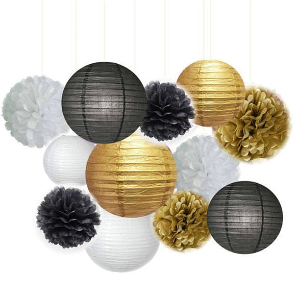 Black, Gold, White Party Tissue Poms & Lantern Set-DIY Mens Party Set | Graduation Party| Dads, husband, Grandpa Birthday Decoration Set