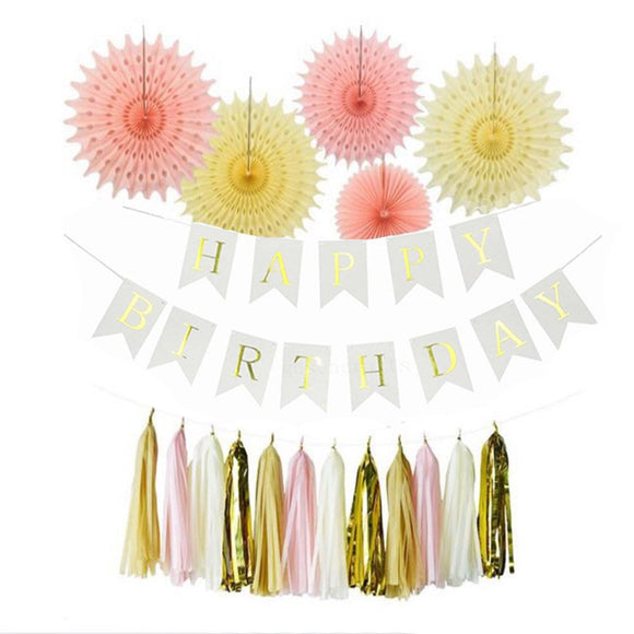 Happy Birthday Pink, Gold, White Party Theme Decoration Set-DIY Girls Party Set, Tissue Ball | Girls Baby Shower| Happy Birhday Banner Set