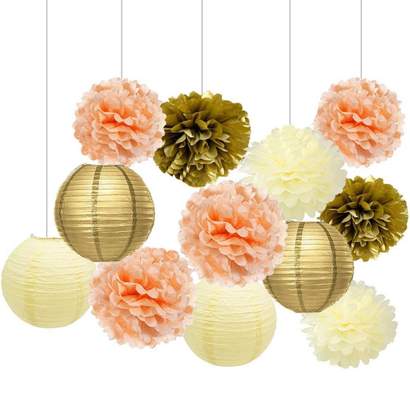 Peach Gold Ivory Party Tissue Poms & Lanterns Set-Girls Party Set| Bridal Shower| Girls Baby Shower |Teens Birthday Decor | Hanging Decor