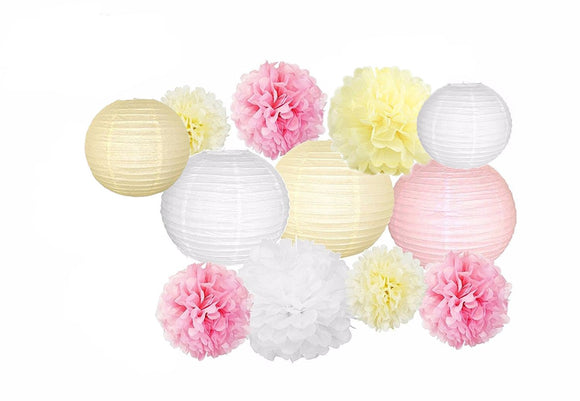 Pink Cream White Party Tissue Poms & Lantern Set-DIY Princess Party Set, Paper Lantern| Girl Baby Shower |Girls Birthday | Bridal Shower