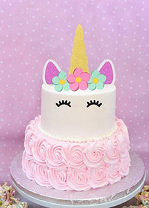 Unicorn Cake Topper Happy Birthday Cake Decoration Gold Sliver and Pink Glitter