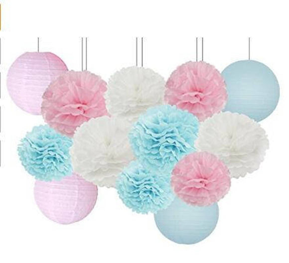 Pink and Blue Gender Reveal Party Decorations -Lantern & Tissue Pom Kit - Birthday Party, Girls Party, Baby Shower, Boy or Girl Baby Party