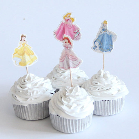 Disney Pretty Princess Cupcake Topper Picks | Girls Party Decorations | Princess Party Favors | Princess Party Supplies |  Belle Cinderella