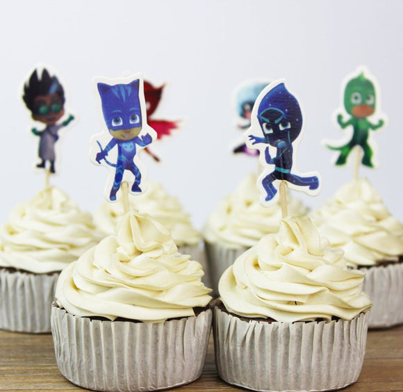PJ Mask Cupcake Topper Picks | Boys Party Decorations | PJ Mask Party Favors | PJ Mask Party Supplies