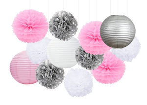 Pink, Silver, White Party Tissue Pom Poms Paper & Lantern Set-DIY Kids Party Set| Baby Shower |Girls Birthday | Hanging Decoration | Bridal