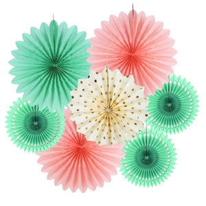 Pink and Mint Party Fans Set
