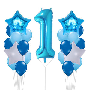 Giant Blue Number 1 Foil Balloons Bouquet Blue Party Balloons | Baby Shower| Boy's 1st Birthday Party Decor |Balloon Bouquet Boys Cake Smash