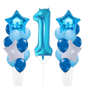 Giant Blue Number Foil Balloons Bouquet, Blue Birthday Party Balloons, Milestone Balloons,  Boy's 1st Birthday, Boy's Cake Smash