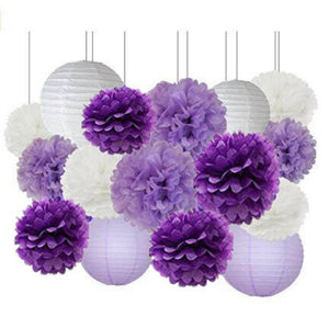 Purple Lavender White Party Tissue Poms & Lantern Set-DIY Purple Party Set| Purple Baby Shower |Purple Birthday |Purple Bridal Shower