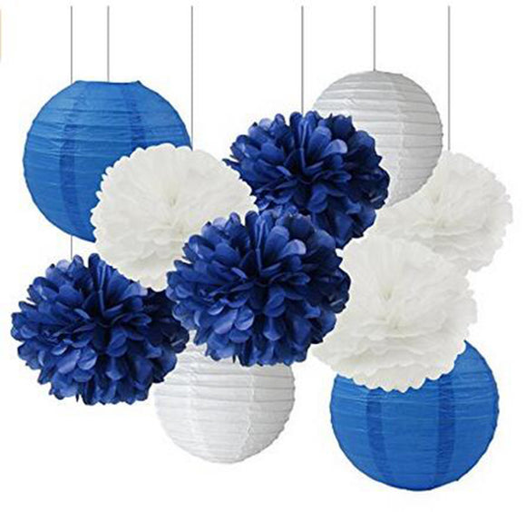 ROYAL NAVY Party- Blue White Party Pom & Lantern Set-DIY Party Set, Royal Blue Baby Shower,Boys Birthday, Men's Party Decoration