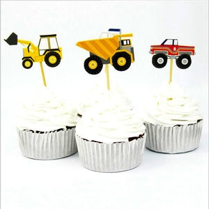 Car Truck Excavators Cupcake Topper Picks | Truck Party Decorations | Truck Party Favors | Truck Party Theme | Construction Birthday Party