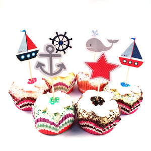 Sailor Nautical Cupcake Topper Picks | Nautical Party Decorations