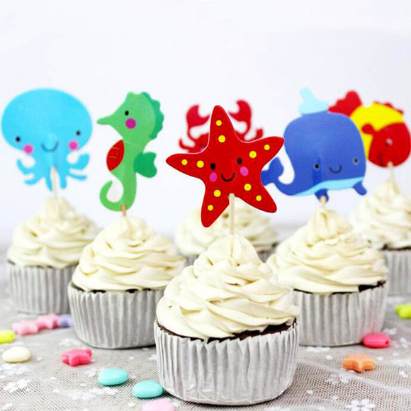 Ocean Sea Cupcake Topper Picks | Sea Animals Party Decorations | Ocean Animals Party Favors | Whale Party Theme | Boys Birthday Party