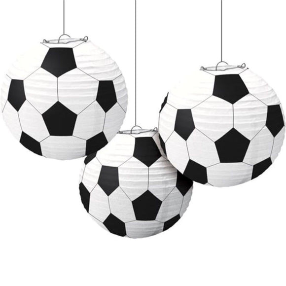 Soccer Paper Lantern| Black and White Gameday Soccer Paper Lantern Hanging Decorations
