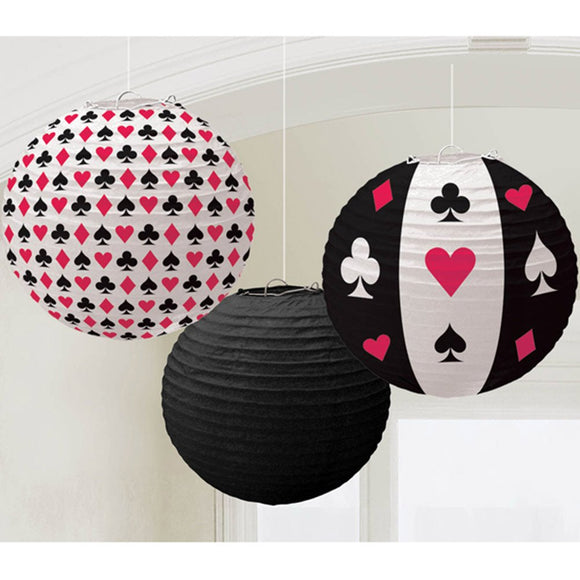 Poker Las Vegas Party Paper Lantern| Card Theme Party Decor| Poker Lantern Hanging Decorations | Las Vegas Party Theme | Poker Game Party |