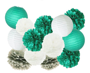 Teal, Green, Grey White Party Tissue Pom Poms & Lantern Set-DIY Party Set, Fathers Birthday, Boys Baby Shower, Boys Birthday Party, Bachelor
