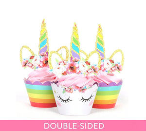 Rainbow Unicorn Cupcake Toppers and Wrappers | Unicorn Party Favors | Unicorn Birthday Party Decorations | Unicorn Party Supplies | Unicorn